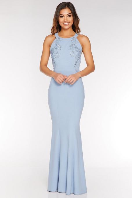 Pale Blue Halterneck Backless Maxi Dress