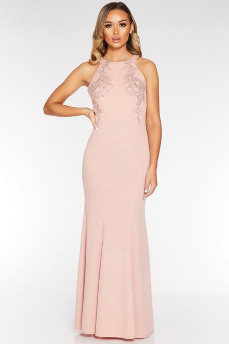 Pink Halterneck Backless Maxi Dress