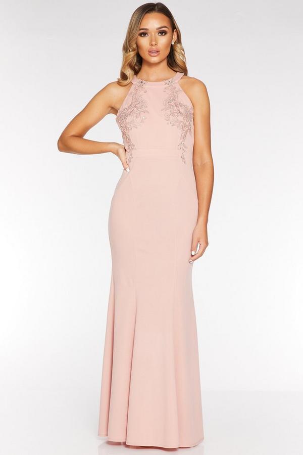 Vestido Largo Rosa Claro con Espalda Descubierta