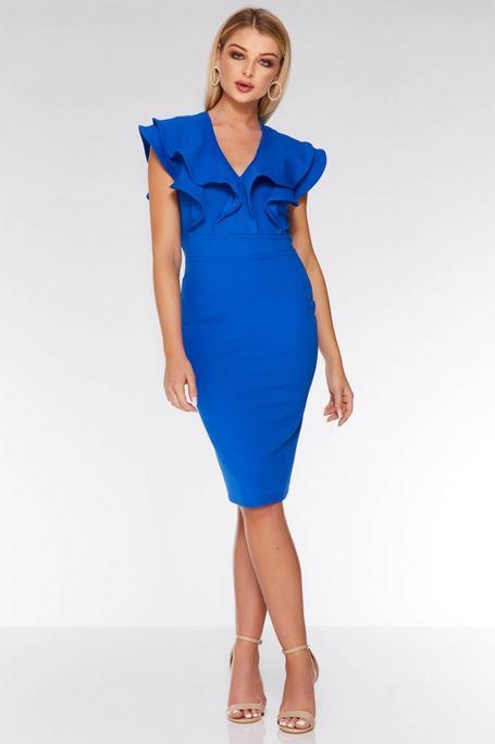 Royal Blue Double Frill Midi Dress