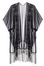 Kimono Negro con Bordados y Flecos