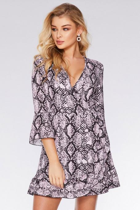 Pink and Black Snake Print Wrap Dress