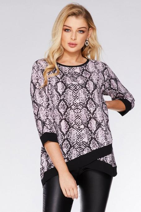 Pink and Black Snake Print Contrast Top