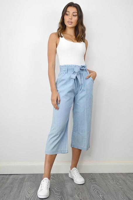 Pantalones Vaqueros Azules Culotte con Cintura Paper Bag