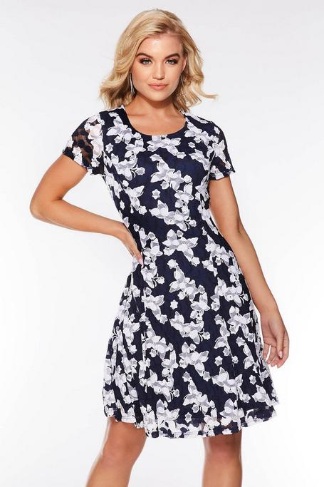 Navy And Cream Lace Butterfly Dress
