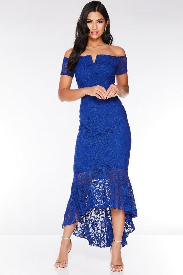 Royal Blue Off The Shoulder Glitter Lace Midi Dress
