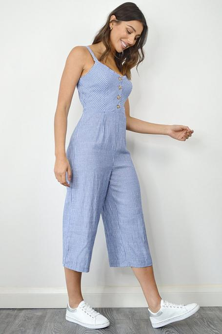 Blue and White Stripe Button Front Culotte Jumpsuit