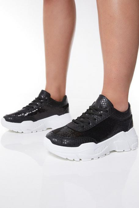 Black Sequin Chunky Sneakers