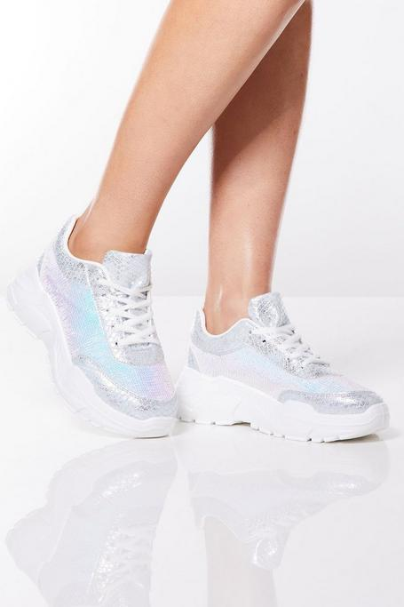 Silver Sequin Chunky Sneakers
