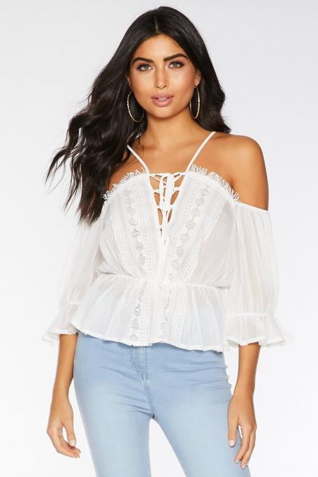 White Cold Shoulder Tie Front Top
