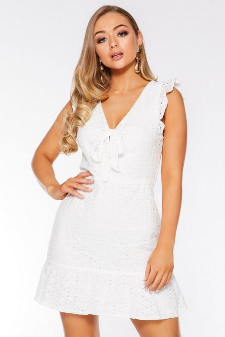 White Broderie Tie Front Dress