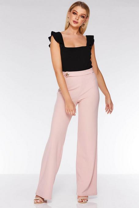 Blush Button Side Palazzo Trousers
