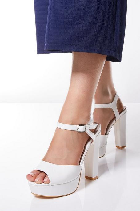 Zapatos de Tacón Grueso Blancos con Plataforma