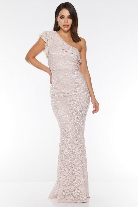 Nude Glitter Lace One Shoulder Frill Mermaid Dress