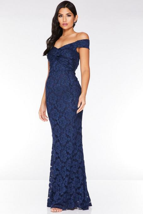 Navy Glitter Lace Off The Shoulder Knot Maxi Dress