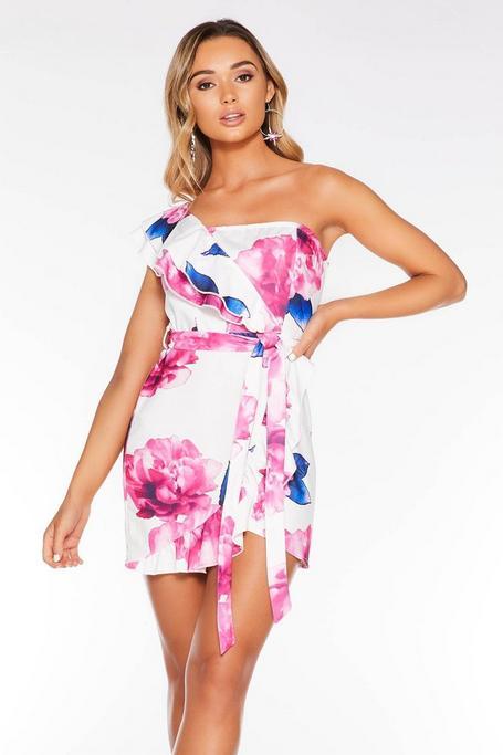 Vestido Floral Blanco, Azul y Rosa con Hombro Descubierto