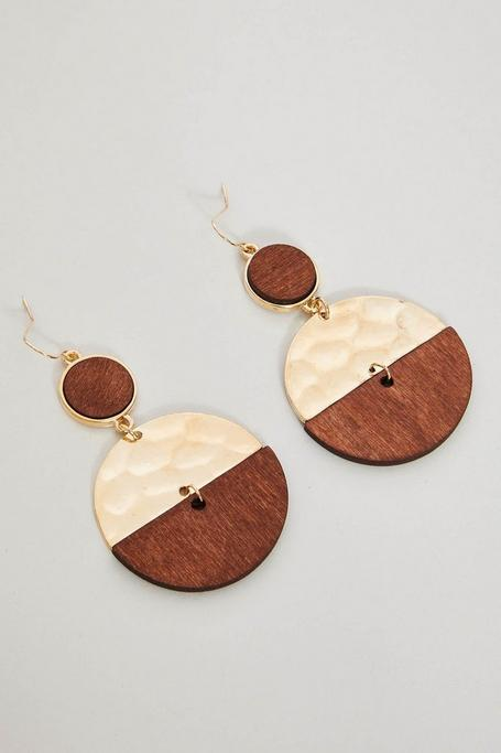 Brown Wooden Disc Earrings