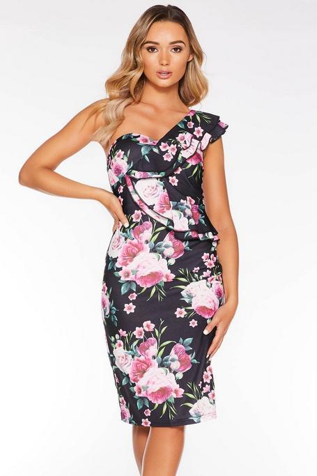 Vestido Midi Floral Negro y Rosa con Hombro Descubierto