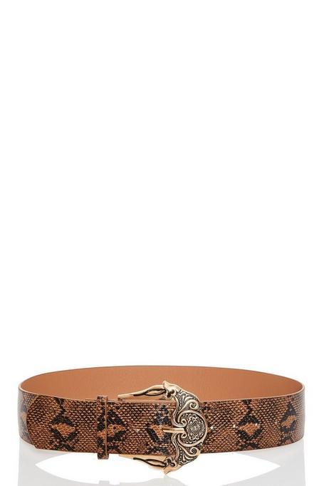 Cinturón Marrón de Estampado de Serpiente con Hebilla Dorada