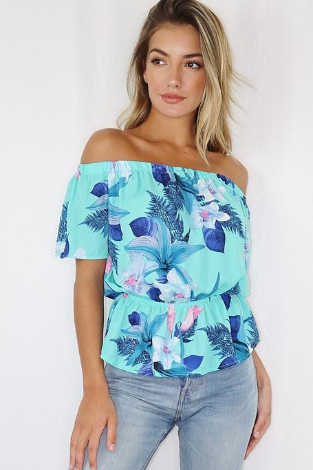 Top Floral Azul con Hombros Descubiertos