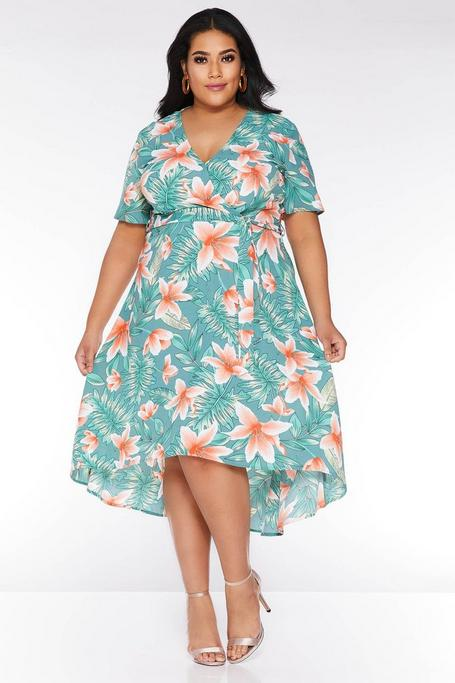 Plus Size Green and Coral Tropical Wrap Dip Hem Dress