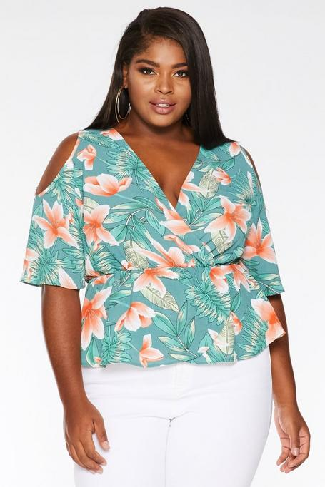 Top Curve Verde y Coral con Estampado Tropical