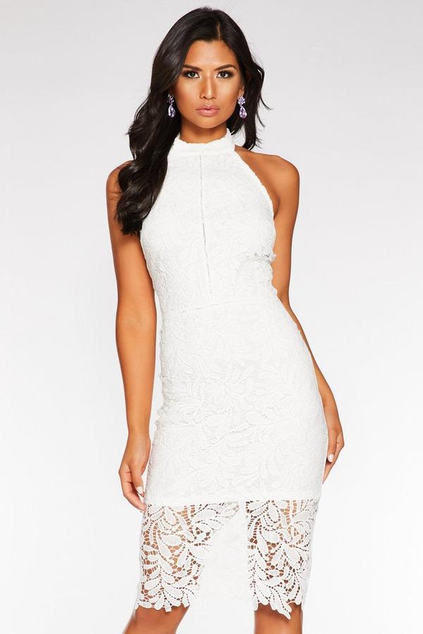 Vestido Blanco de Encaje con Espalda Descubierta