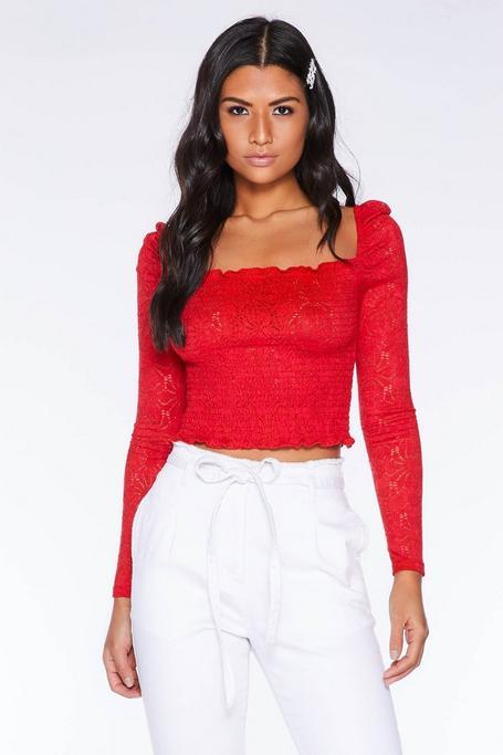Red Crochet Long Sleeve Crop Top