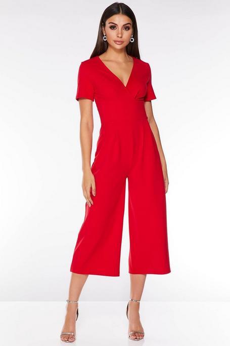 Red Wrap Cap Sleeve Culotte Jumpsuit