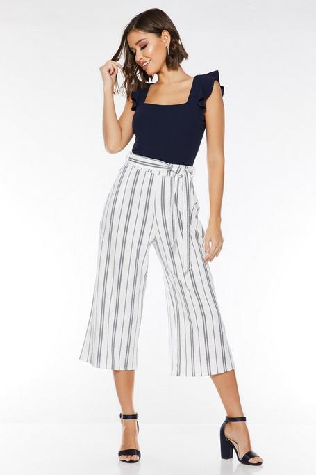 White Navy Stripe Culotte Trousers