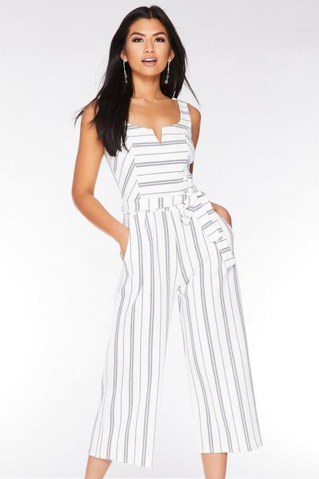White and Navy Stripe Culotte Jumpsuit