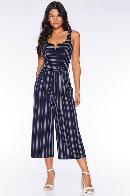 Navy and White Stripe Culotte Jumpsuit