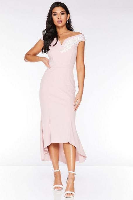 Pink And Cream Off The Shoulder Dip Hem Dress