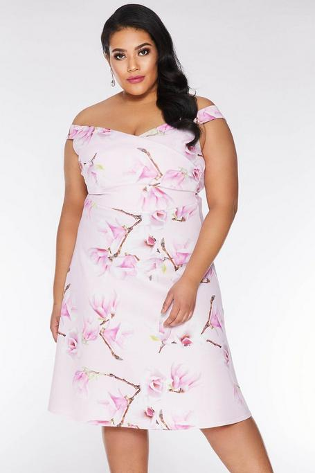 Plus Size Pink And Lilac Floral Off The Shoulder Midi Dress