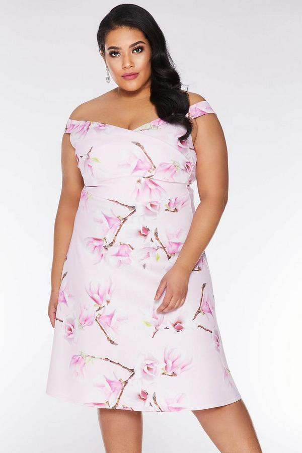 Vestido Curve Midi Floral Rosa y Lila con Escote Bardot