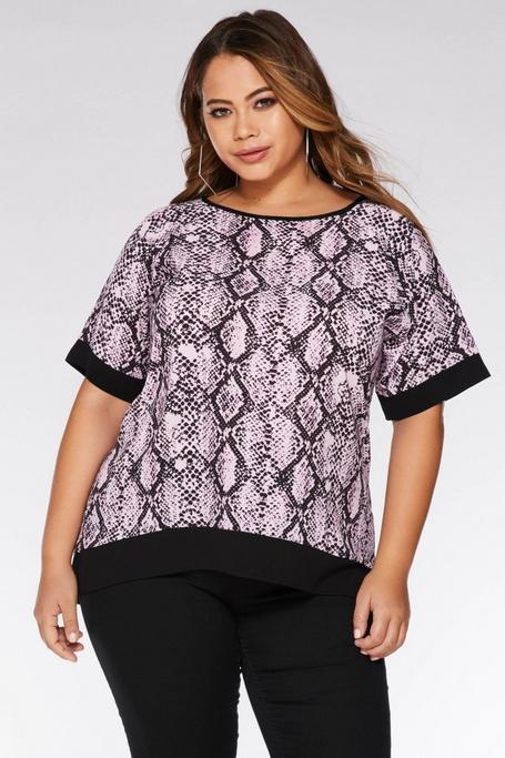Plus Size Pink and Black Snake Print Top