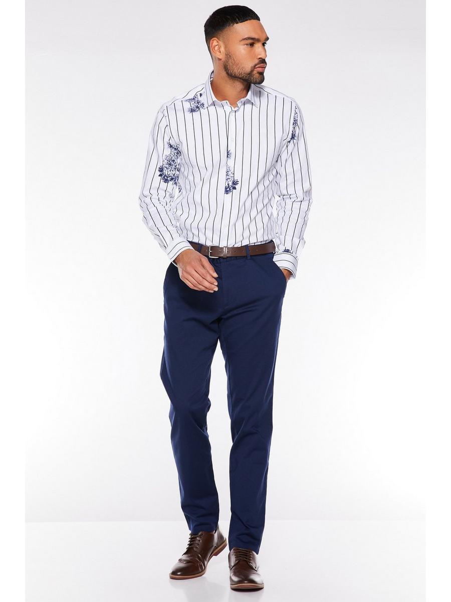 Petrol Blue Slim Fit Chino Trouser