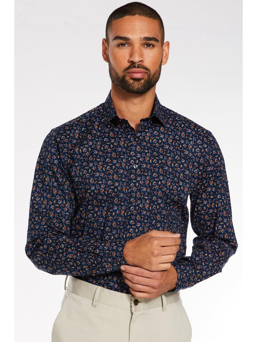 Long Sleeve Miniature Flower Print Shirt in Navy