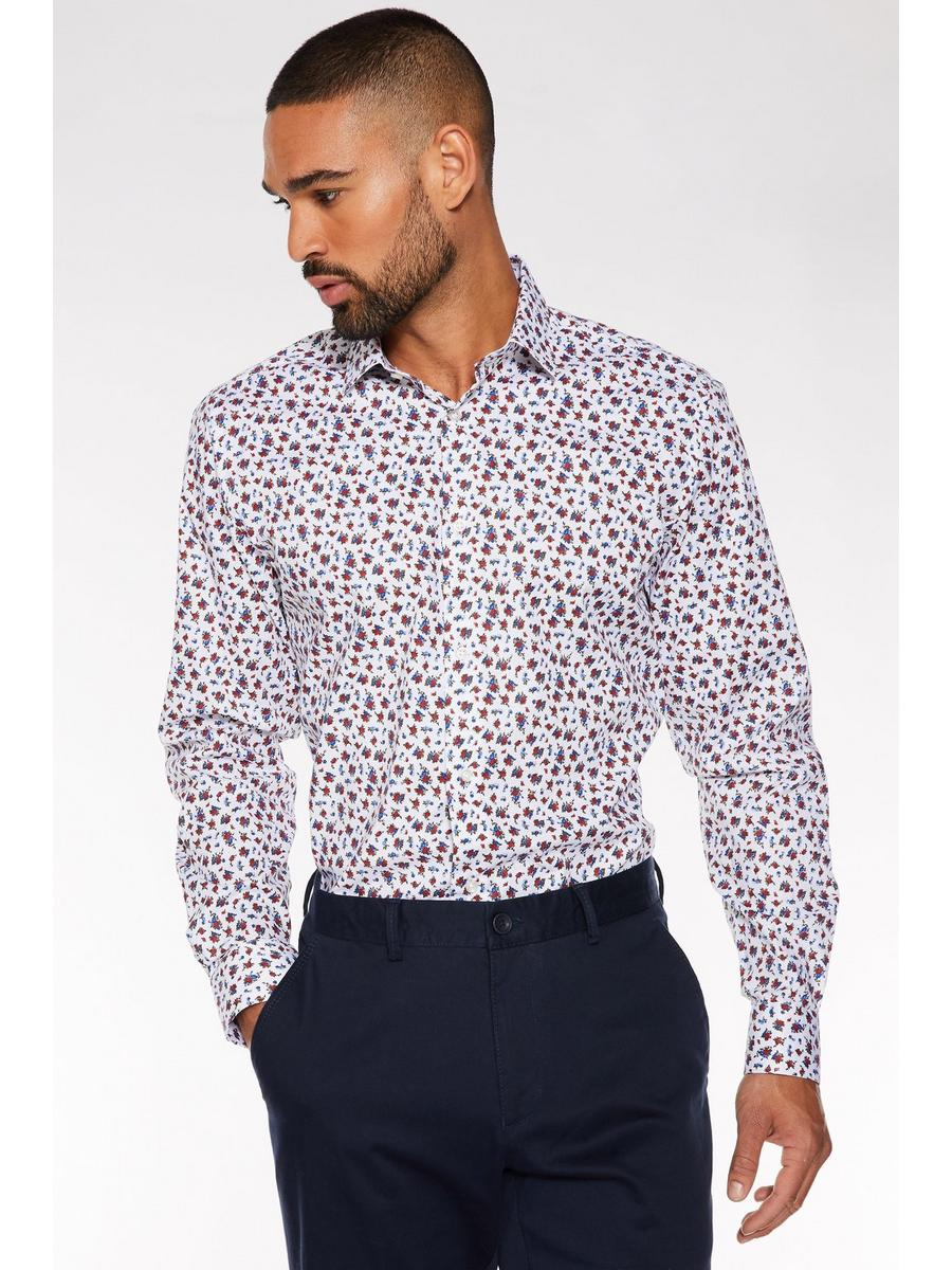 Long Sleeve Miniature Flower Print Shirt