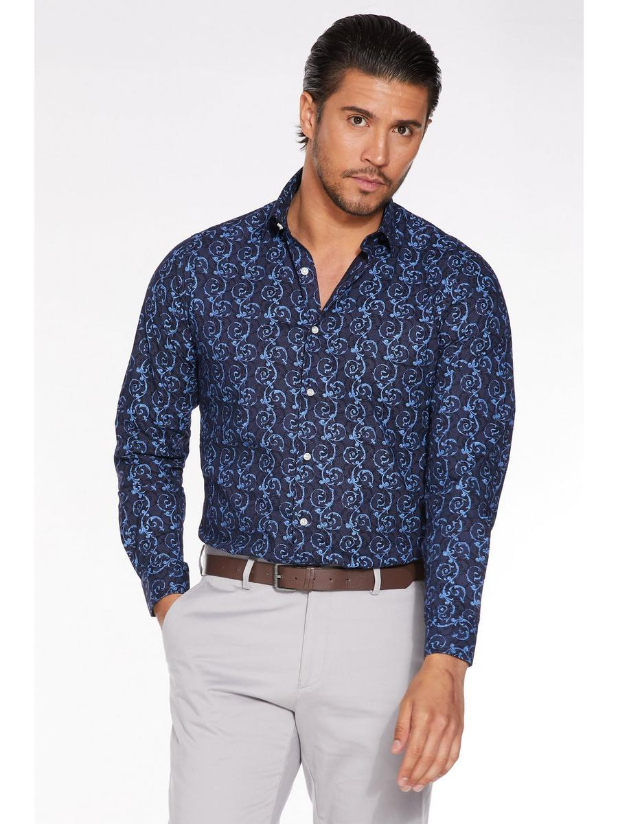 Long Sleeve Spiral Print Shirt