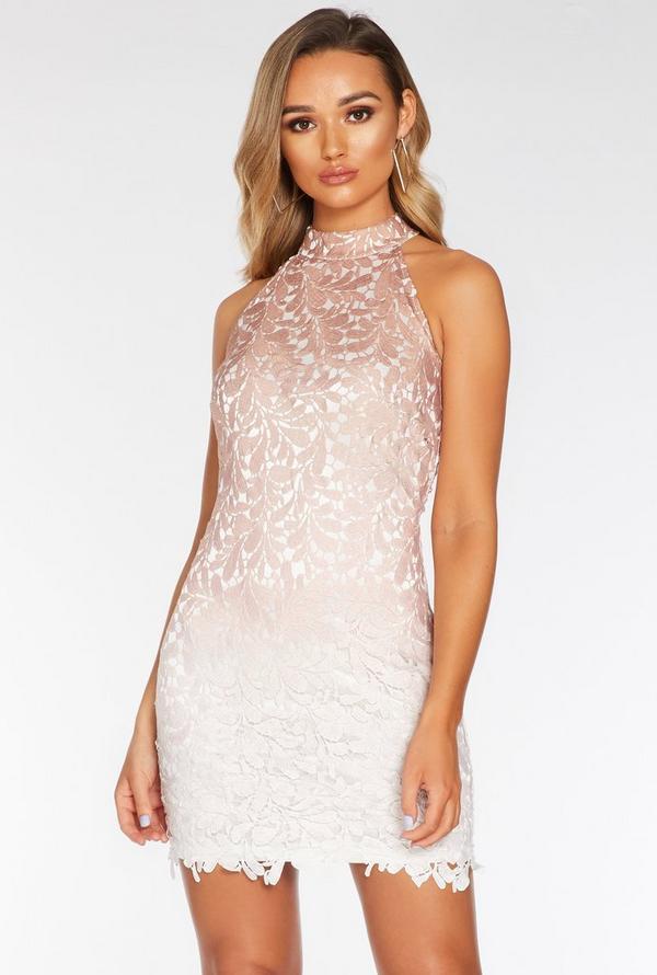 Vestido Rosa y Blanco de Encaje