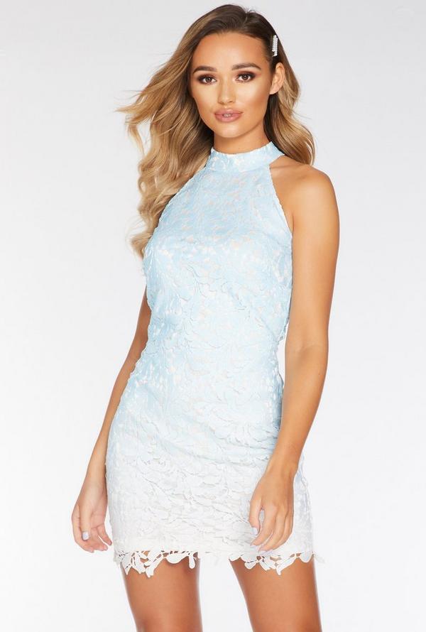 Vestido Azul y Blanco de Encaje