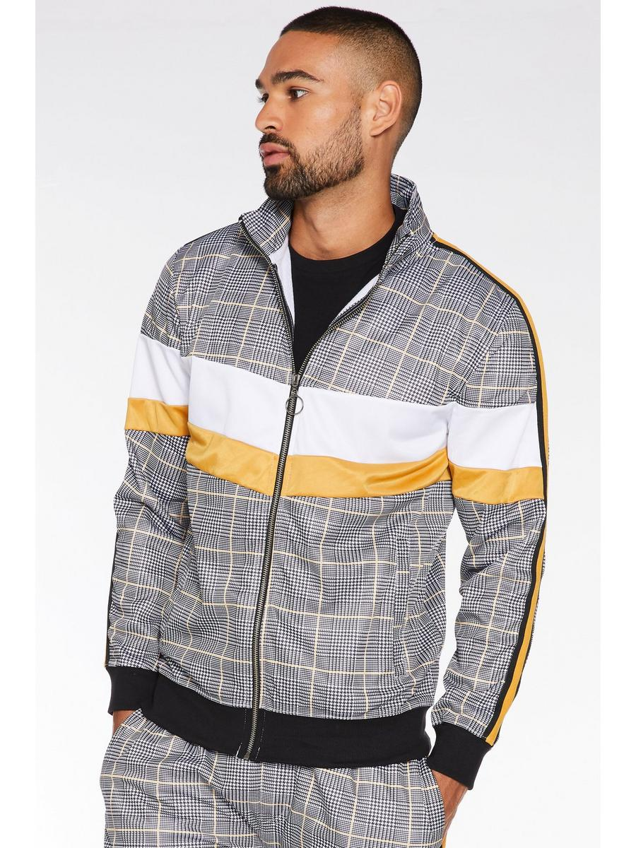 Mustard Colour Block Check Jacket