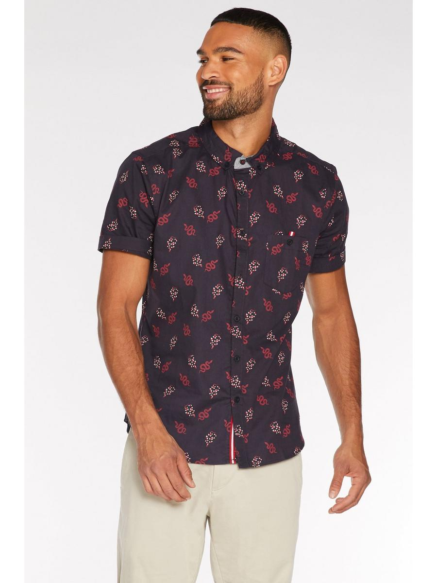 Short Sleeve Snake Print Shirt in Navy