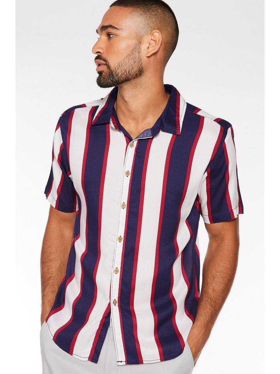 Short Sleeve Viscose Striped Shirt
