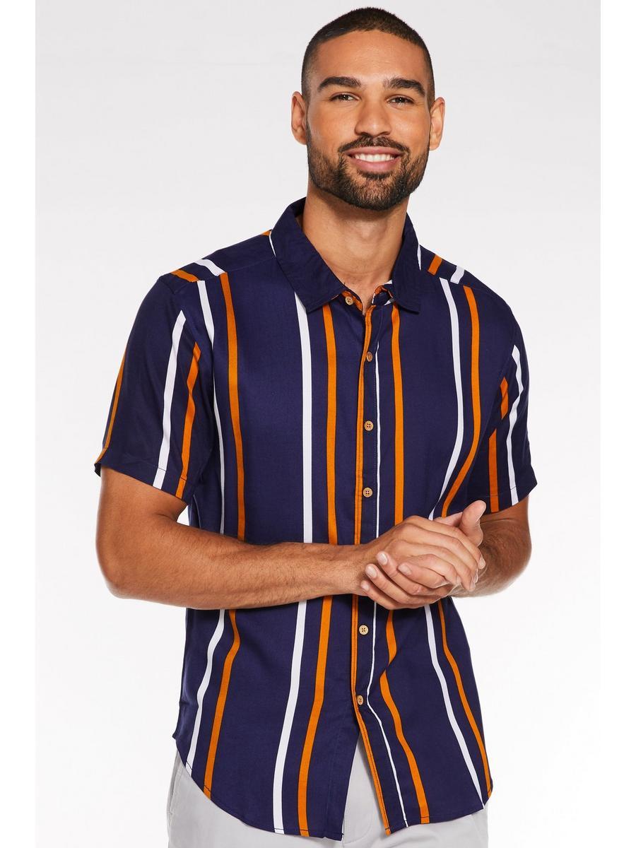 Short Sleeved Viscose Striped Shirt in Navy