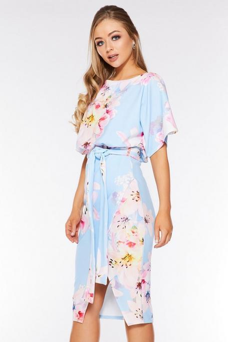Pale Blue Floral Batwing Belted Dress