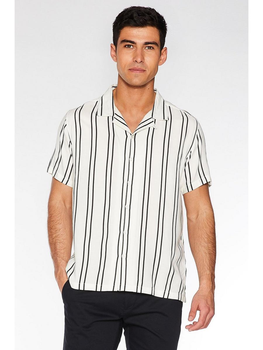 Ecru Striped Revere Collar Shirt