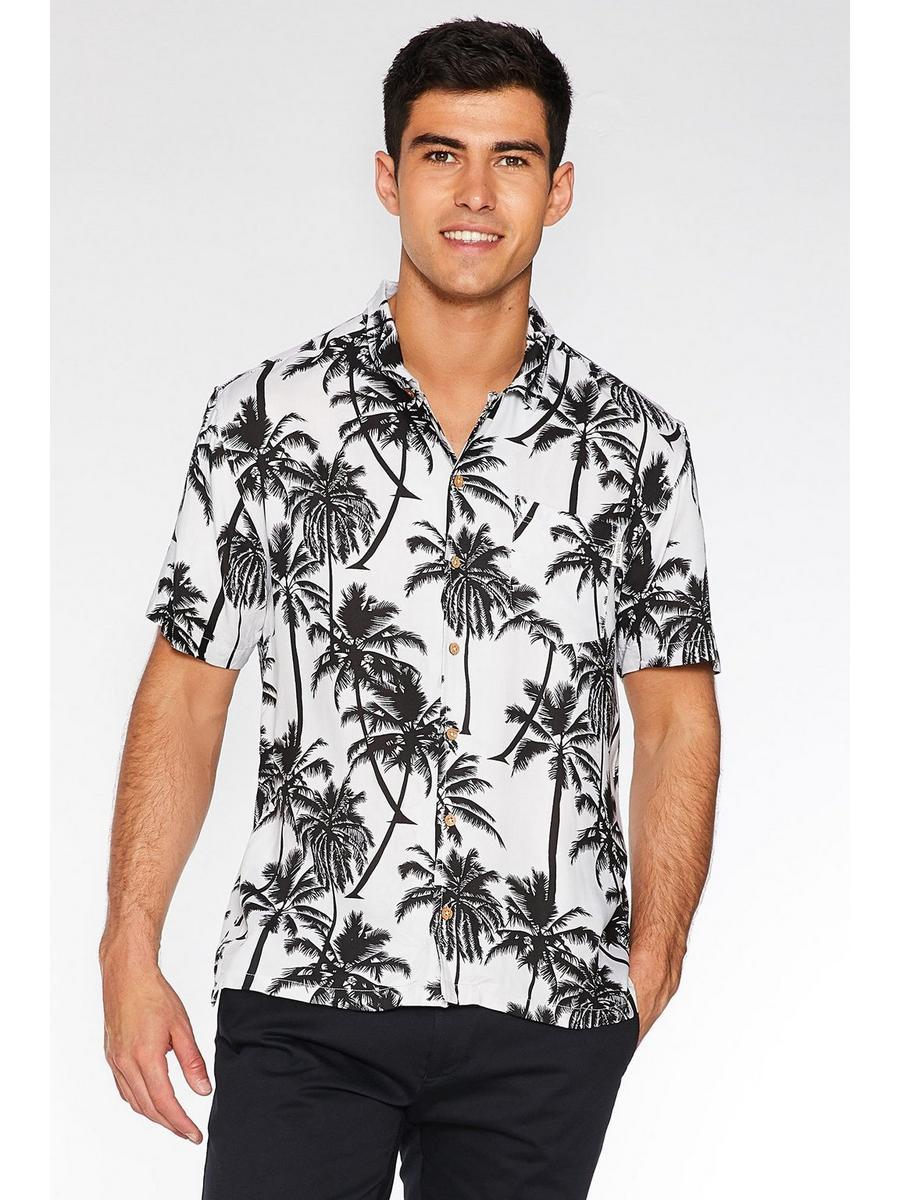 White Revere Collar Palm Print Shirt