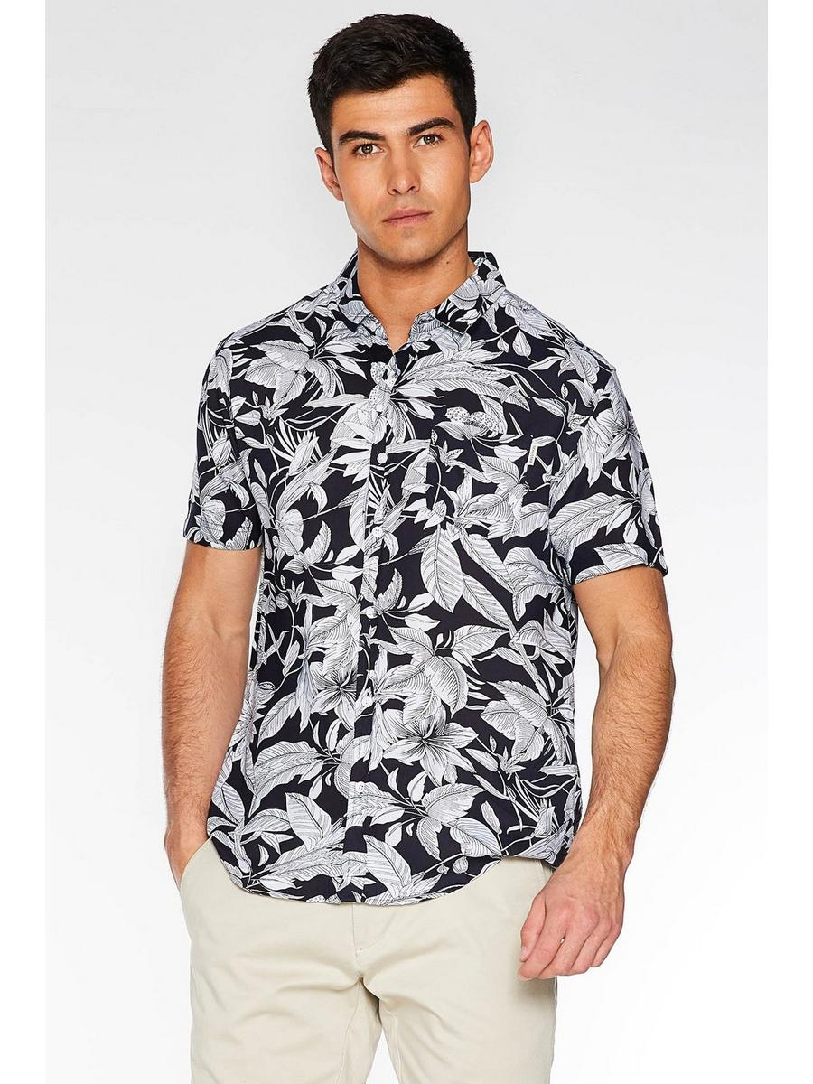 Navy Leaf Print Revere Collar Shirt